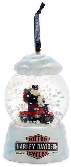 Snow Globe Harley Santa Ornament!
