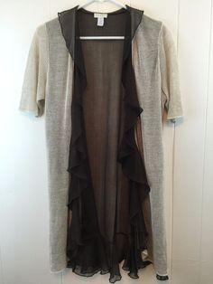 Chico's 1 Cardigan Loose Mesh Knit Linen Rayon Ruffle Chiffon Duster Sweater S M #Chicos #Cardigan