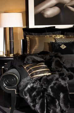 Ralph Lauren Home's One Fifth Collection: Sleek black tempered by warm golds, luxurious textures and soft edges. #bedroom #decor