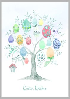 Victoria Nelson - Easter Tree Different Copy Easter Art, Easter Crafts, Easter Ideas, Easter Bunny, Easter Eggs, Easter Drawings, Bird Drawings, Easter Illustration, Book Illustration