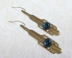 Art Deco Earring Dangles Montana Blue Bridal by dfoxjewelrydesigns