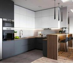 If you are looking for Minimalist Kitchen Design Ideas, You come to the right place. Below are the Minimalist Kitchen Design Ideas. Kitchen Room Design, Kitchen Cabinet Design, Modern Kitchen Design, Kitchen Layout, Home Decor Kitchen, Interior Design Kitchen, New Kitchen, Home Kitchens, Kitchen Ideas