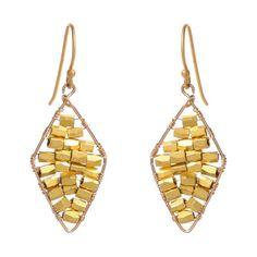 Wendy Mink Jewelry Diamond Filled Gold Nugget Earrings