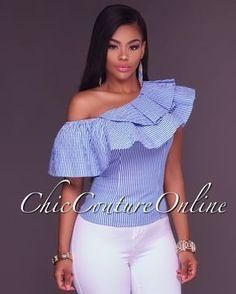 bc5d08e3849d0 Chic Couture Online - Connie Blue White Stripes One Shoulder Ruffle Top