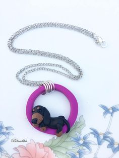 Lazy dachshund necklacepolymer clayfimodachshundpurple