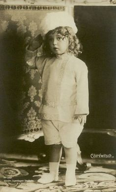 This photograph shows The Tsarevich Alexei Nicolaevich Romanov, youngest child and only son of Tsar Nicholas II and Empress Alexandra.
