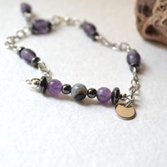 Azrael Personalized Memory Bracelet with Amethyst, Onyx, and Hematite Gemstones by AURAGEMSbyHeather