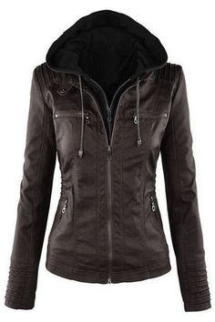 Black Fashion Zipped Jacket With Removable Hood from mobile - US$57.95 -YOINS