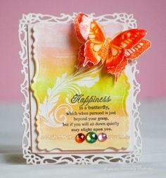 Watercolor card uses JustRite's new Butterfly Dreams set.