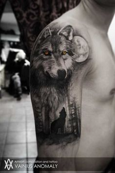 Wolf Half Sleeve Tattoo - Best Wolf Tattoos For Men: Cool Wolf Tattoo Designs and Ideas For Guys - Howling, Snarling, Angry, Alpha, Wolf Pack Half Sleeve Tattoos For Guys, Best Sleeve Tattoos, Body Art Tattoos, Wolf Tattoo Design, Tattoo Designs, Wolf Sleeve, Wolf Tattoo Sleeve, Tattoo Wolf, Wrist Tattoo
