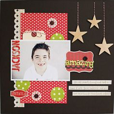 Simple but really effective layout - loving the hanging stars and hidden journalling Scrapbooking Ideas, Scrapbook Cards, Hanging Stars, Scrapbook Layout Sketches, Studio Calico, First Photo, Homemade Cards, Card Making, Paper Crafts