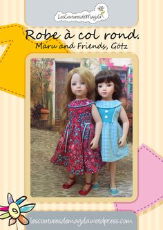 Pattern: Dress with round collar for Maru and Friends, Götz dolls. Sewing Doll Clothes, Sewing Dolls, Doll Clothes Patterns, Doll Patterns, Clothing Patterns, Gotz Dolls, Ag Dolls, Wedding Dress Patterns, Sewing Patterns Girls