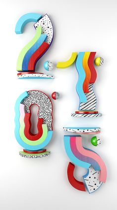 YOROKOBU Numbers on Behance // memphis milano + nice colors Typo Design, 3d Design, Graphic Design, Typography Letters, Typography Poster, Atelier Theme, Inspiration Typographie, Schrift Design, 3d Type
