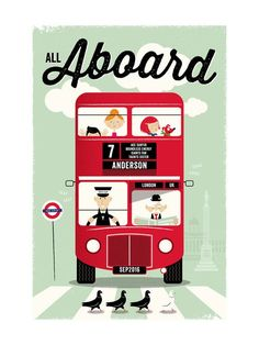 Modern, Vintage, Blue Children Custom Art From Minted By Independent Artist The Fine Letter Co. Called All Aboard With Printing On In Bloomsbury Blue KCA. London Bus, Pink Kids, Vintage Travel Posters, Illustrations, Grafik Design, Custom Art, Wall Art Prints, Art For Kids, Lettering