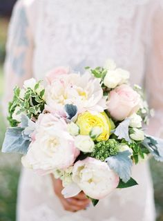 Pretty pink + yellow peony bouquet: Photography : Christine Doneé Read More on SMP: http://www.stylemepretty.com/2016/07/25/stylish-beverly-hills-courthouse-elopement/