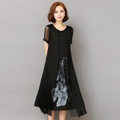 New Summer Autumn White Black Ink Print Women Long Dress Retro Short Sleeve Cotton Linen Designs Casual Dresses Slim Casual Dresses, Fashion Dresses, Short Sleeve Dresses, Loose Dresses, Women's Dresses, Cotton Dresses, Short Sleeves, Summer Dresses, Affordable Dresses