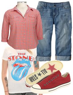 It's the weekend! Women's Plus Size Gingham Camp Shirt and Women's Plus Size Distressed Cuffed Denim Capris at oldnavy.com. Girls' Plus Size Stones Blue Tongue Tee at hottopic.com. John Varvatos Chuck Taylor Vintage Slip at zappos.com. #plussize