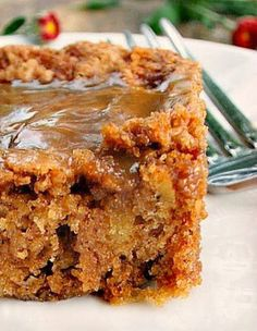 Mom's Best Apple Cake lots of apples in this cake, it's soft and moist. There's also a hot caramel sauce poured over the cake after it's baked that makes this outrageously delicious!