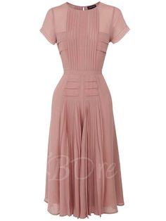 TBDress - TBDress Pleated Short Sleeve Pink Plain Womens Maxi Dress - AdoreWe.com