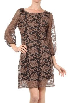 Beige & Black Floral Lace Dress