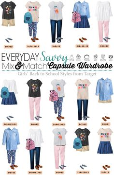 Fun fall back to school capsule wardrobe for girls with items from Target. When … Fun fall back to school capsule wardrobe for girls with items from Target. When you buy these 14 pieces you have 15 mix and match back to school outfits. Back School Outfits, School Girl Outfit, Kids School Clothes, Summer Clothes, Back To School Backpacks, School Bags, Little Girl Outfits, Little Girl Fashion, Outfits For Teens