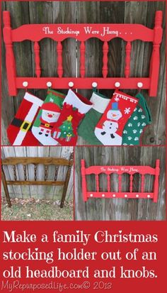"""Stocking Hanger Easy Christmas project-repurposed headboard, """"The Stockings Were Hung.""""Easy Christmas project-repurposed headboard, """"The Stockings Were Hung. All I Want For Christmas, All Things Christmas, Simple Christmas, Winter Christmas, Christmas Holidays, Christmas Decorations, Christmas Ornaments, Merry Christmas, Grapevine Christmas"""