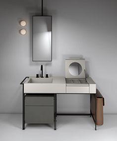 Mueble de lavabo de diseño / de madera / de cerámica / de pie NARCISO by Andrea Parisio Giuseppe Pezzano Ceramica Cielo