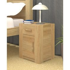 Malta Bedside Cabinet In Solid Wood With 1 Door And 1 Drawer