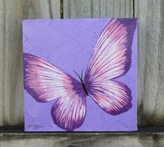 Unique Purple and Pink Butterfly Handpainted on a by ColorsbyRuth