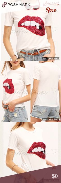 ❤️COMING SOON❤️ Flirty Sequin Covered 'Lips' Shirt ❤️COMING SOON❤️ This shirt is a must-have for your wardrobe...Show your flirty side and wear with jeans, shorts, or a skirt. It can even be dressed up or down. It would look great with the light denim shredded skirt I have listed or the shredded jeans. I also have some dark red/burgundy boots in my closet that can finish off the look and leave you looking FAB! I have sizes S - XL and they fit TTS. Price is firm unless bundled. Like or…