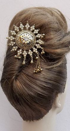 Vintage hair comb Indonesian Balinese gold tone hair accessory ...