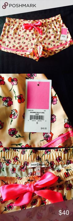 NWT Juicy Couture Floral Sleep Shorts Super feminine, gorgeous color and poppy design. Lace detail, silky material, gold buttons. Rare!! Sold out right away. I love them but my butt is too large sooo... They need a new home Juicy Couture Shorts