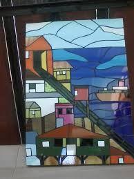 Resultado de imagen para mosaico valparaiso Stained Glass Quilt, Mosaic Artwork, World View, Arte Pop, Mosaic Glass, Stairs, Quilts, Architecture, Building