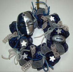 Deco Mesh Cowboy's Wreath by tinasdecomeshwreaths on Etsy, $65.00