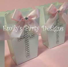 Popcorn Boxes Favor Goody Bag Baptism Favor by designsbyemilys