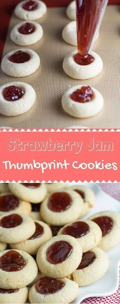 Strawberry Jam Thumbprint Cookies are so fun to make! It's a super simple recipe, and you can fill it with whatever you like. I'd recommend keeping this one in your back pocket! Jelly Cookies, Jam Cookies, Filled Cookies, Yummy Cookies, Chip Cookies, Holiday Baking, Christmas Baking, Köstliche Desserts, Delicious Desserts