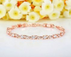 Luxury Rose Gold Plated Chain Bracelet Shining AAA Cubic Zircon Crystal Jewelry