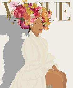 Beyoncé for Vogue Magazine . Illustration by Urechi from referee . - Beyoncé for Vogue Magazine . Illustration by Urechi from reference photo by @ - Beyoncé for Vogue Mag Magazine Illustration, Illustration Art, Olive Quotes, Magazine Vogue, Floral Event Design, Arte Pop, Aesthetic Art, Wallpaper Quotes, Art Inspo