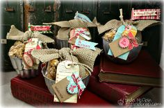 I had to do more than just fill them with popcorn – I decorated them with burlap bows and tags. Fun, right?!