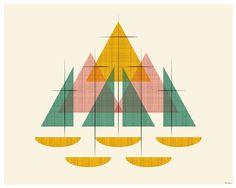 Mid Century Modern Sailboats by Cory McBee on Artfully Walls