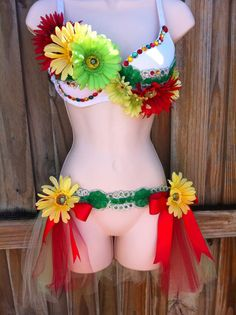 Custom Rave Outfit  Rasta Daisy Bra and Tutu by ElectricPrincess, $120.00
