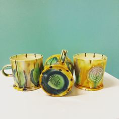 A must have for any collector, these mugs are made by ceramist Richard Stratton. Ceramics, Mugs, Tableware, How To Make, Ceramica, Pottery, Dinnerware, Tablewares, Ceramic Art