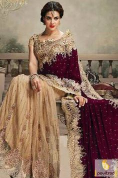 Royal Cream Color Bridal Wedding Saree In India #saree, #designersaree more:  http://www.pavitraa.in/catalogs/indian-designer-royal-sarees-for-bride/?utm_source=rn&utm_medium=pinterestpost&utm_campaign=20jun