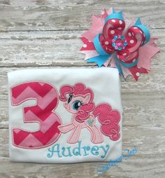 My Little Pony Birthday Shirt Pinkpie Pie with Matching Bow Hot Pink Light Pink Turquoise on Etsy, $29.00