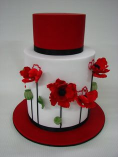 Red and white poppy cake