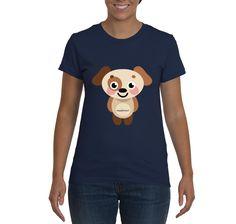 Cartoon Cute Pup - Navy Blue - 100% Cotton - Unisex T-Shirt