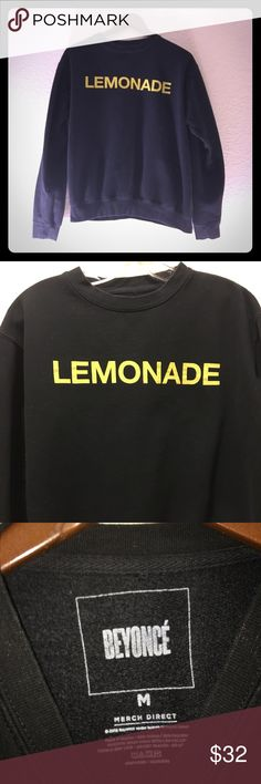 🍋BEYONCÉ sweatshirt LEMONADE authentic merch Authentic BEYONCÉ Lemonade merchandise, purchased from Beyoncé's official website. Black sweatshirt with yellow printing; LEMONADE across chest, BEYONCÉ on left wrist. In great secondhand condition. This has already been washed and will not shrink. Size Medium. Super cool sweatshirt commemorating the greatest album ever. 🍋  80% cotton 20% polyester   Machine wash.   Always open to offers! 😊 Beyonce Sweaters