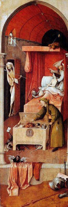 Hieronymus-Jérôme Bosch - Primitif Flamand - Mort d'un avare.
