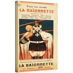 ArtWall Paul Iribe La Baïonnette 1916 inch Gallery-Wrapped Canvas, Size: 18 x 36, Orange