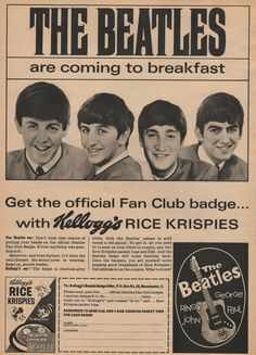 Beatles Kellogg's Rice Krispies Promotional Advertisement and Unassembled Rice Krispies Cereal Box With Beatles Ad (UK, - Available at 2019 March 16 - Beatles Poster, Les Beatles, Beatles Art, Vintage Newspaper, Vintage Ads, Great Bands, Cool Bands, Old Advertisements, Journaling